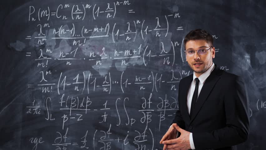 Young handsome male teacher or student in spectacles explaining decision of hard math equation. He prove the theorem and want to invite You to study in university. 4k UHD | Shutterstock HD Video #30181393
