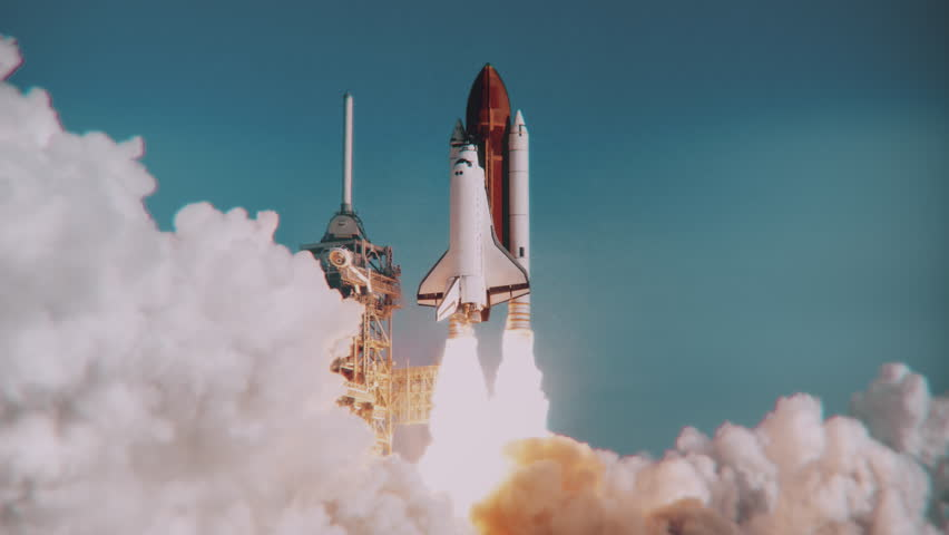 Space Shuttle launch in slow motion. (NASA logo removed) Elements furnished by NASA. Broadcast quality animation rendered at 16-bit color depth. 4K UHD. | Shutterstock HD Video #30194527
