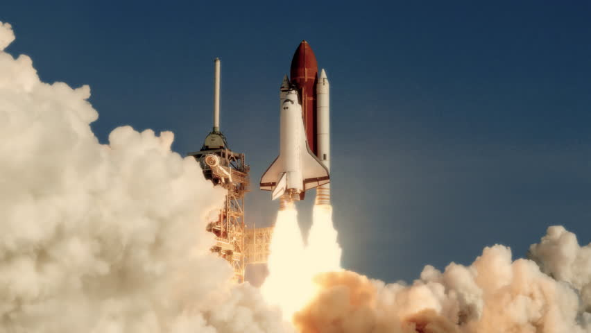 Space Shuttle launch in slow motion. (NASA logo removed) Elements furnished by NASA. Broadcast quality animation rendered at 16-bit color depth. 4K UHD. | Shutterstock HD Video #30194533