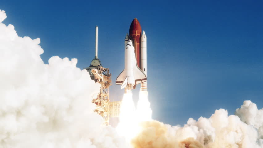 Space Shuttle launch in slow motion. (NASA logo removed) Elements furnished by NASA. Broadcast quality animation rendered at 16-bit color depth. 4K UHD. | Shutterstock HD Video #30194545