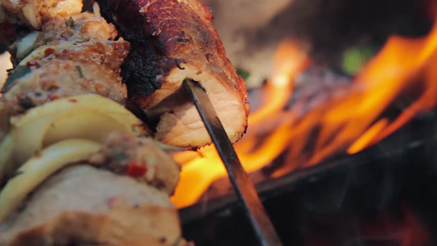 Barbecue meat close up. barbecue party. grilling shashlik on barbecue grill. bbq meat. picnic party.   Shutterstock HD Video #30195409