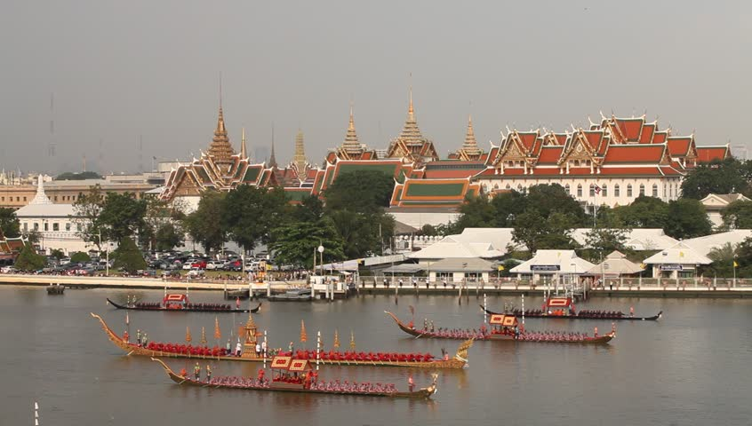 BANGKOK, THAILAND - NOV 6: Rehearsals of the Thailand's Royal Barge Procession on the Chao Phraya river for a royal ceremony marking the end of buddhist lent on November 6, 2012 in Bangkok, Thailand.