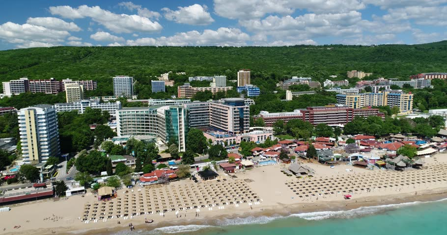 4k aerial video of the beach in Golden Sands, Zlatni Piasaci. Popular summer resort near Varna, Bulgaria   Shutterstock HD Video #30208021