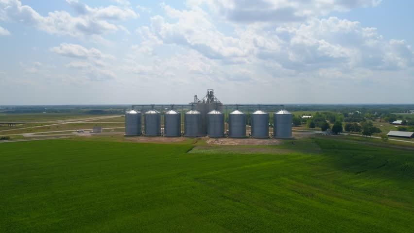 Drone footage silo Storage agriculture farm Fairfield Iowa USA 4k 60p | Shutterstock HD Video #30216376