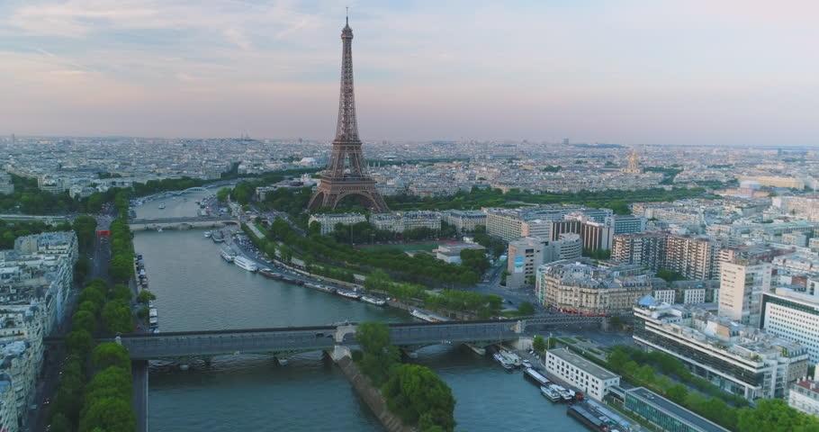 Paris Aerial Seine river Eiffel Tower sunset | Shutterstock HD Video #30221995