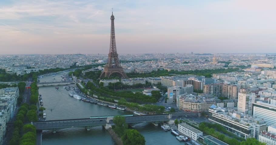 Paris Aerial Seine river Eiffel Tower sunset | Shutterstock HD Video #30222007