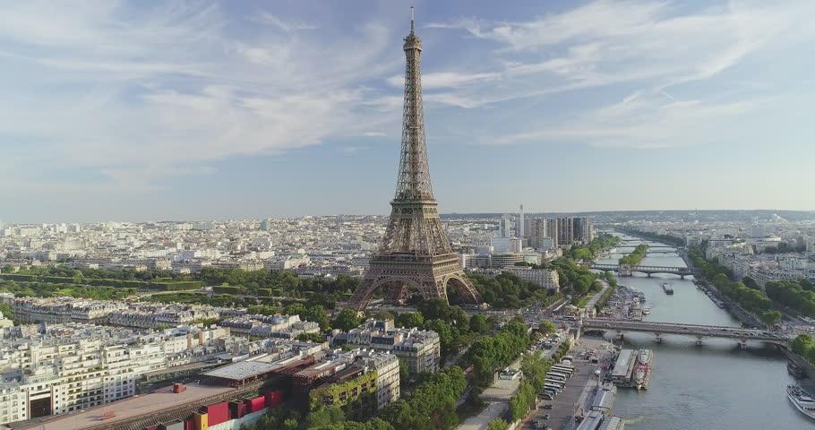 Paris Aerial Seine river Eiffel Tower sunset | Shutterstock HD Video #30224647