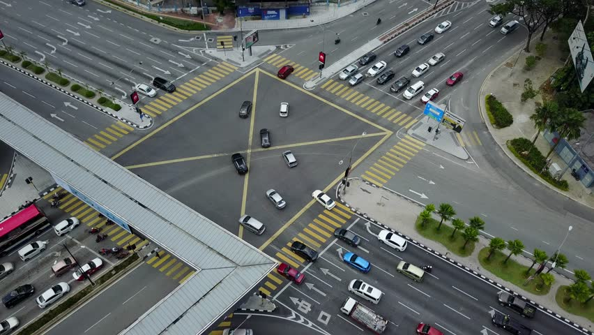 KUALA LUMPUR, MALAYSIA - AUGUST 29, 2017: Aerial view thru drone perspective at Ampang Park four junction during sunny day. This junction located at Jalan Ampang, Kuala Lumpur.  #30226036