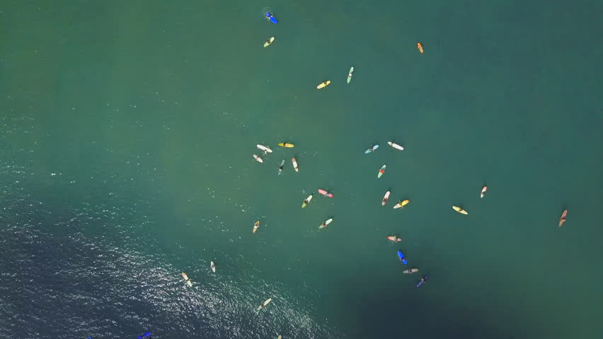 AERIAL TOP DOWN Beginner surfers learning to surf with big surfboards and longboards at sunny surfspot. Crowds of surfers in the ocean catching breaking waves. People on summer vacation at Bali island | Shutterstock HD Video #30244570