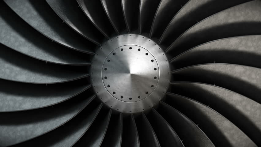Close-up turbine engine front-end fan. 4K loopable background.