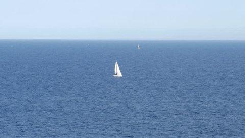 Sailing boat in the Mediterranean Sea - 4 K