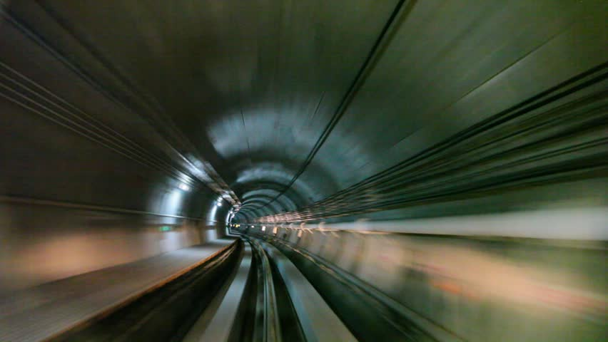 Subway train moving inside tunnel arriving in station | Shutterstock HD Video #3031147