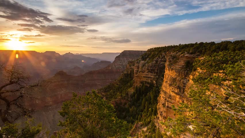 The Sun Rises over the Grand Canyon in the morning.