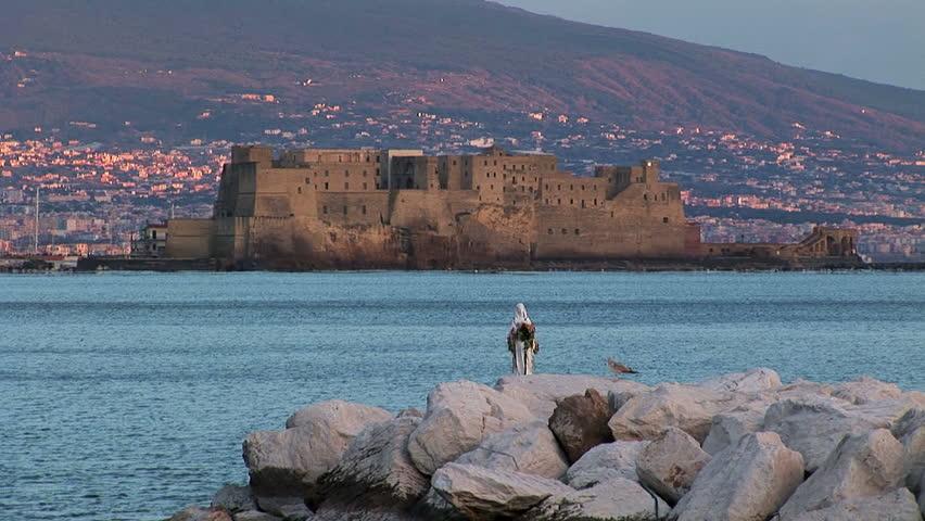 Naples, view of Castle  Ovo