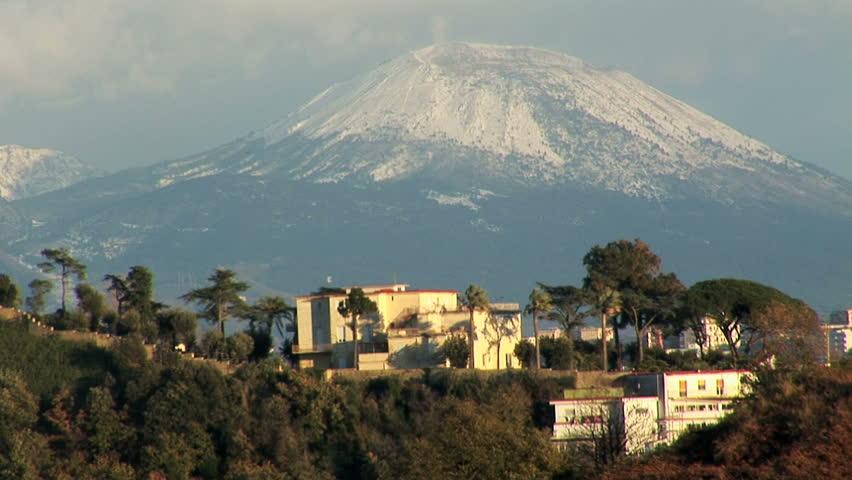 Naples, view of vesuvio's crater with snow