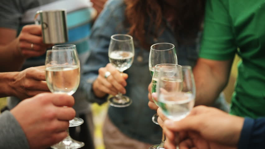 Friends drink champagne knocking glasses in the mountains. Celebrating. Glasses with Sparkling Champagne. | Shutterstock HD Video #30332881