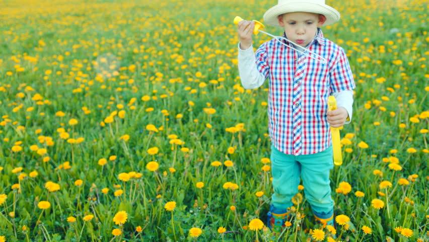 Little pretty boy is blowing bubbles in flowering field | Shutterstock HD Video #30337027