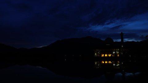 Colorful Sunrise Time lapse view of Darul Quran Mosque at Kuala Kubu, Selangor, Malaysia
