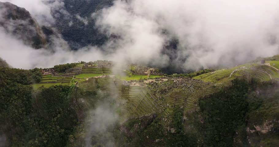 Machu Picchu Peru Aerial v7 Birdseye view flying away from ancient ruins