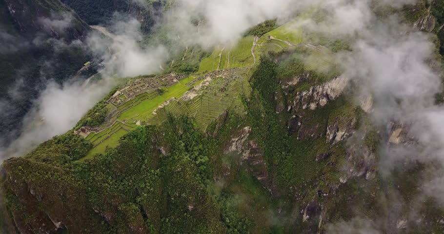 Machu Picchu Peru Aerial v1 Birdseye view flying over ancient ruins