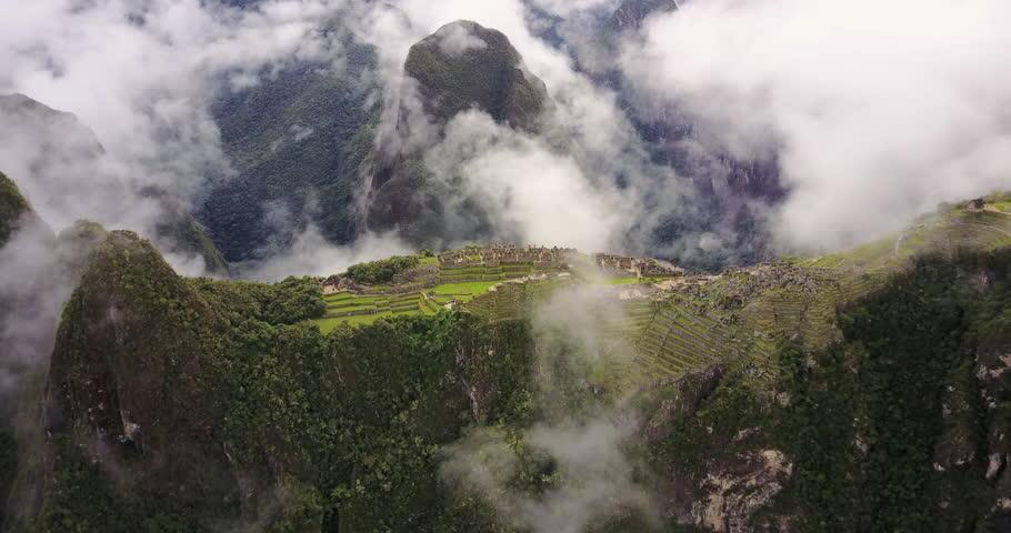 Machu Picchu Peru Aerial v6 Birdseye view flying over ancient ruins