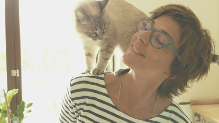 Domestic cat playing on the shoulder of smiling beautiful woman. Indoors setting. Toned image, vintage style, retro filter, backlight. Slow motion