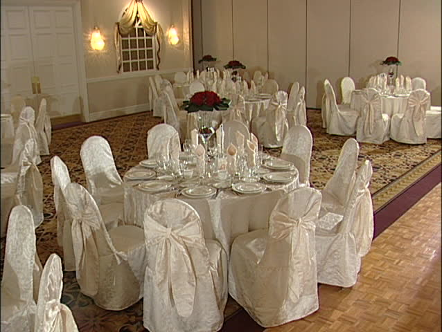Tables in a reception hall