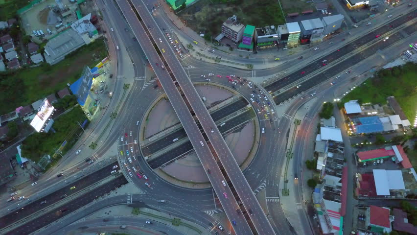 Aerial view  of the expressway, motorway and highway in the detail of circus intersection  | Shutterstock HD Video #30372037