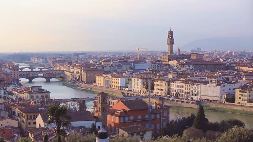 View of Florence after sunset from Piazzale Michelangelo, Florence, Italy | Shutterstock HD Video #30378883