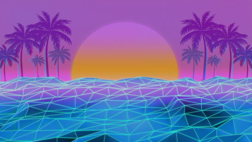 80s Retro Futurism Sun Beach Background | Shutterstock HD Video #30379156