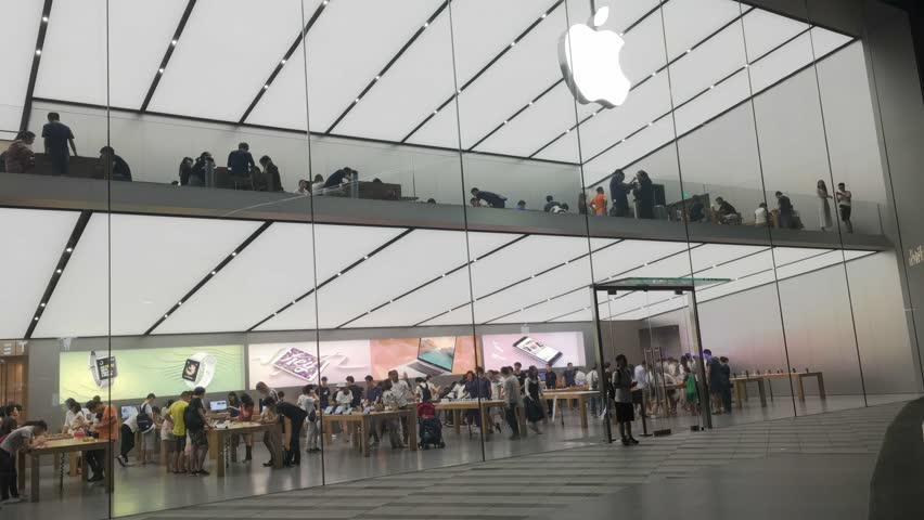 GUANGZHOU, CHINA - September 03. The Apple Store on September 03, 2017 in Guangzhou. This is first Apple Store in Guangzhou,Opening in January 28, 2016.