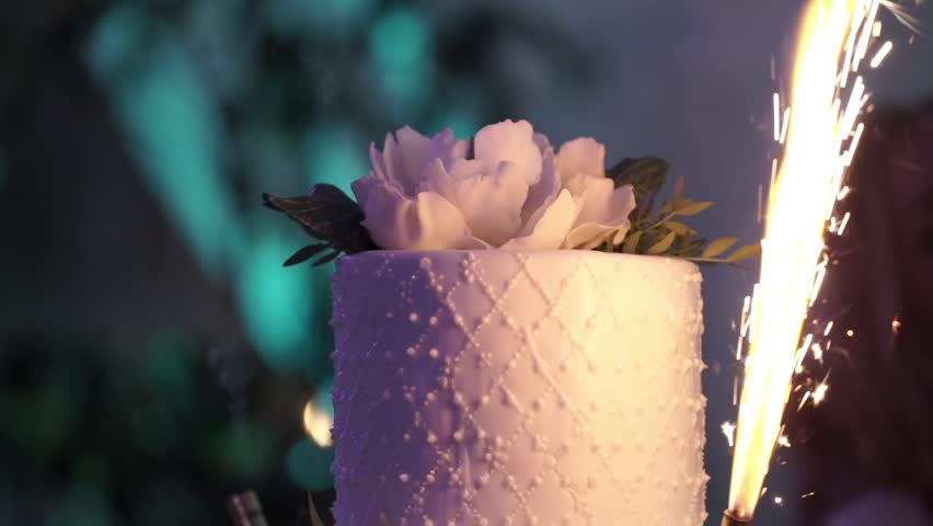 Celebration cake at the party with fireworks slowmotion   Shutterstock HD Video #30427978