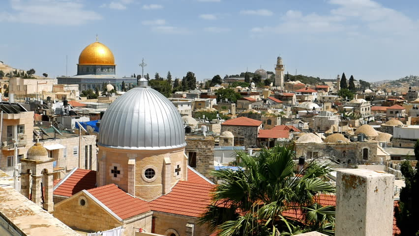 Jerusalem panoramic aerial roof view. Jerusalem is most sacred place for religious people christians muslims and jews. Jerusalem is the center of holy land and popular touristic place. | Shutterstock HD Video #30432154