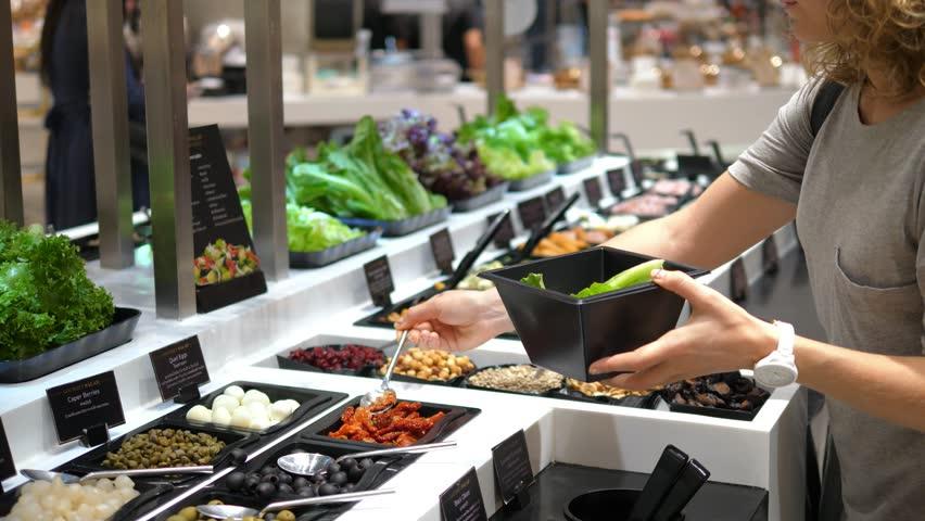 Healthy Vegetarian Woman Taking Salad At Salad Bar In Supermarket. 4K.  | Shutterstock HD Video #30436156