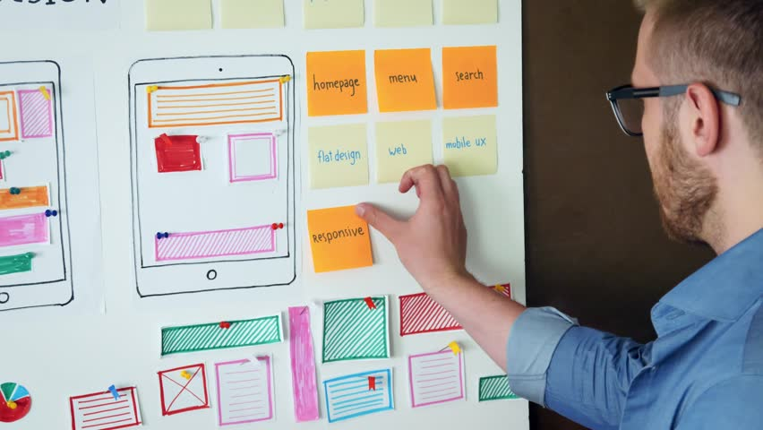 UX specialist designing new application layout on whiteboard Royalty-Free Stock Footage #30455842