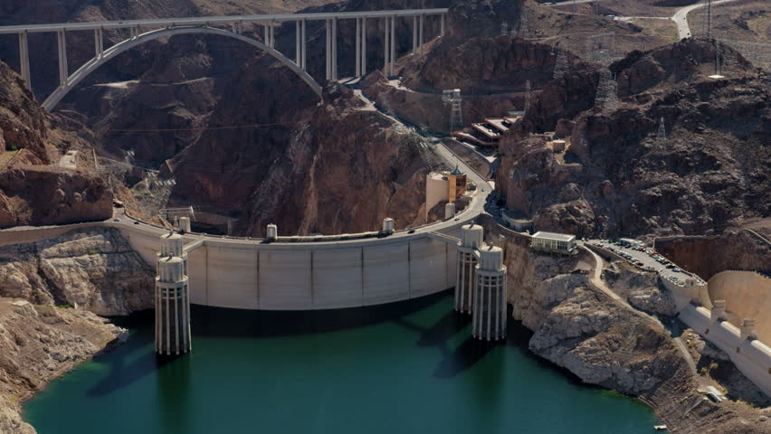 Aerial view Hoover Dam on US 93 tourist destination with Colorado River Bypass bridge and Lake Mead Nevada Arizona America RED WEAPON | Shutterstock HD Video #30456655