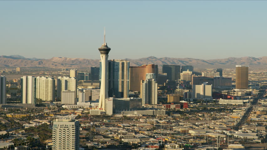 Las Vegas - May 2017: Aerial view of the Stratosphere Tower Downtown Resort Hotels and Casinos city suburbs Nevada USA RED WEAPON