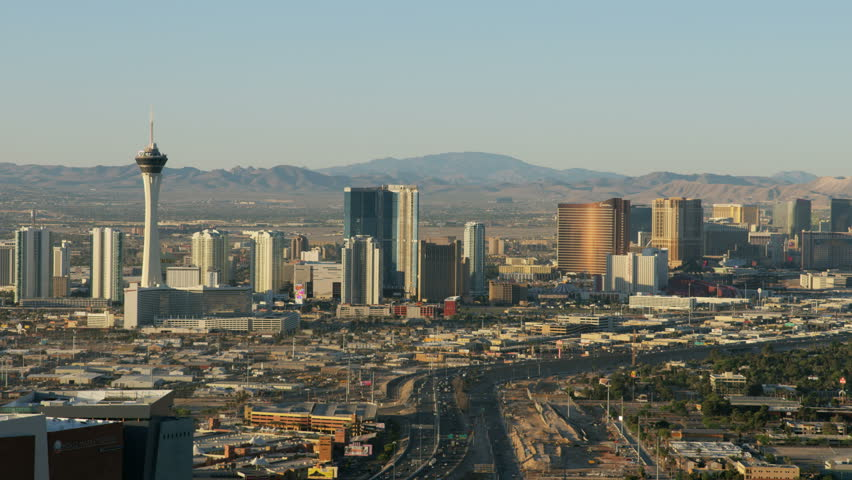 Las Vegas - May 2017: Aerial Cityscape view of Las Vegas Freeway Downtown Resort hotels and Casinos city suburbs Nevada USA RED WEAPON