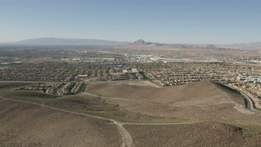 Aerial suburban view of Henderson City Las Vegas city residential commuter homes roads and streets on the outskirts of Nevada USA RED WEAPON | Shutterstock HD Video #30458116