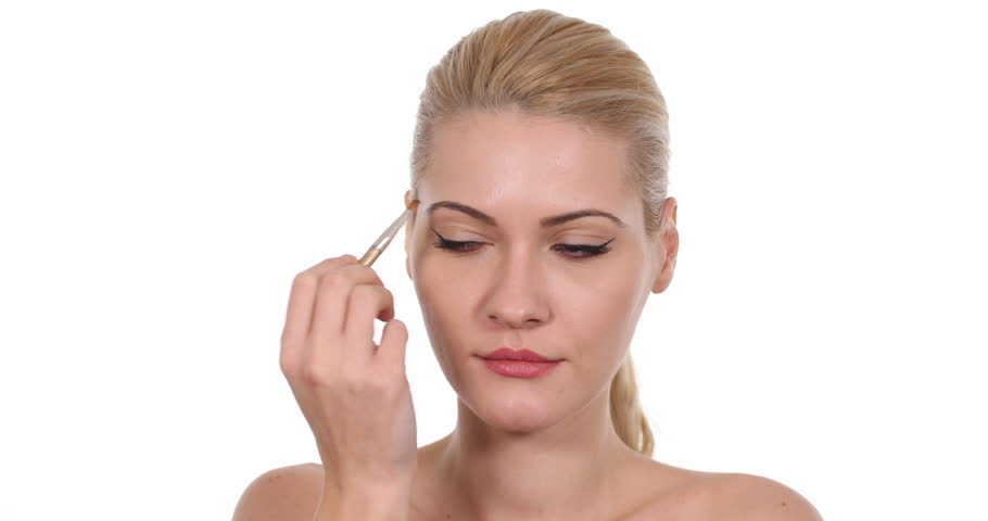 Attractive Woman Brushing Eyebrows Use Paint Brush Naked Body Beautician Stylist #30460441