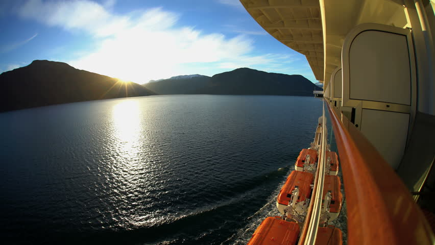 View of Cruise Ship at sunrise scenic beauty from balcony of Norwegian Fjords snow capped mountains Sognefjorden Fjord Scandinavia Europe #30461371
