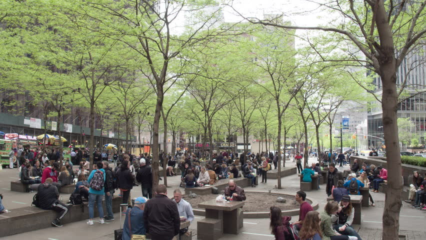 NYC,USA,11.05.2017. Park Zuccotti after protests by Occupy wall street in the financial district in downtown Manhattan. Dolly shot