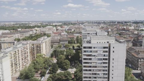 Aerial view of Budapest - Downtown, Szigony street Concrete Panel Buildings estate