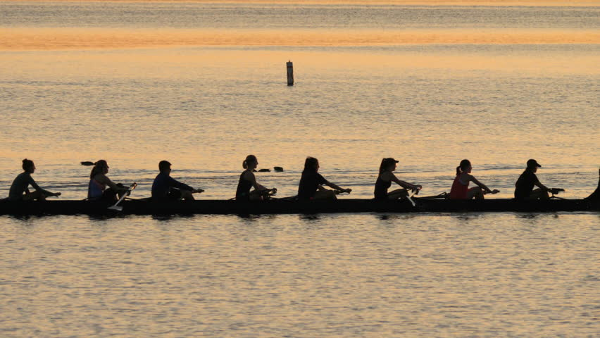 Competitive Rowing Team on Lake at Dawn. 4K UHD Tracking Shot.