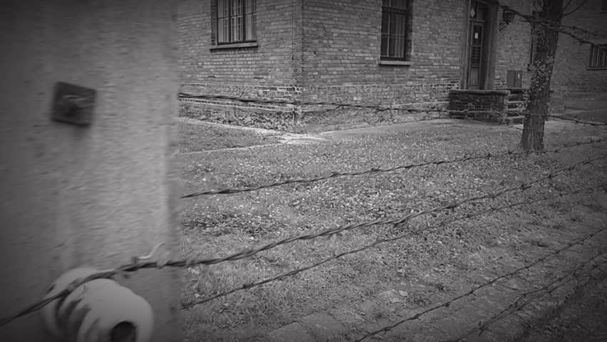 State Museum of Auschwitz-Birkenau (Oswiecim) - Poland - digital effect old movie.