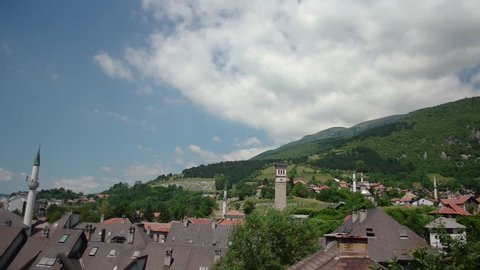 TRAVNIK, BOSNIA AND HERZEGOVINA - JUNE, 2016: Video of the a city panorama with a lot of mosques.