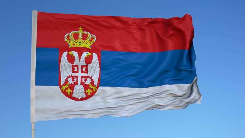 Looping flag for Serbia on flag pole, blowing beautifully in the wind. Includes alpha matte.
