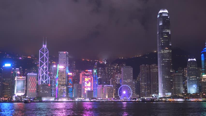 Hong-Kong, CHINA - Jul 01 2017: 4K, Panoramic Night View Harbor Of Hong Kong, Hongkong, China   Shutterstock HD Video #30506542