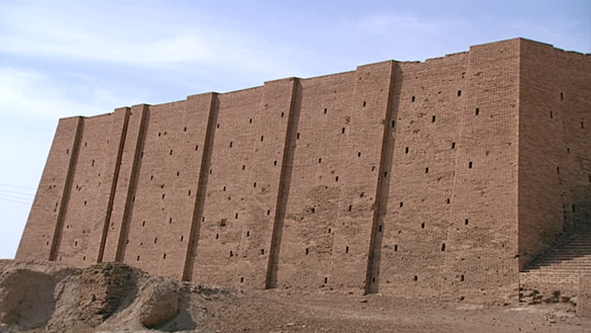 TELL EL MUQAYYAR, IRAQ - CIRCA 2002: View of the Ziggurat of Ur side facade. The ziggurat contained the shrine of the god Nanna or Sin built by king Ur-Nammu in the 21st century BCE.