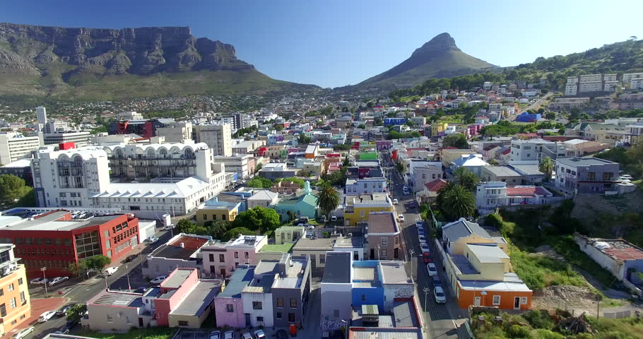 Aerial Over Bo Kaap Houses in City of Cape Town, South Africa